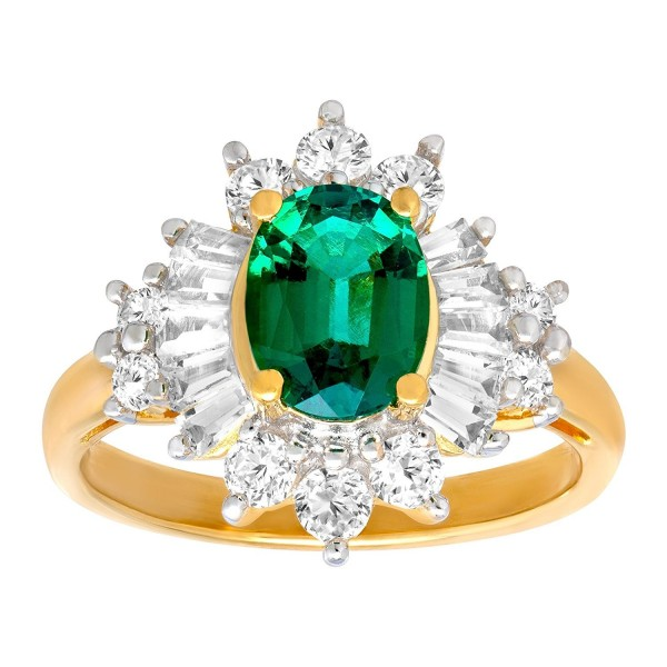 2 1/3 ct Created Emerald & Sapphire Ring in 14K Gold-Plated Sterling Silver - CX17YC8U522