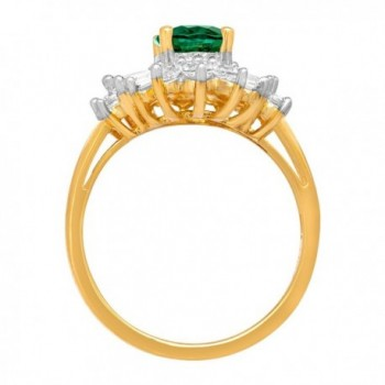 Created Emerald Sapphire Gold Plated Sterling in Women's Statement Rings