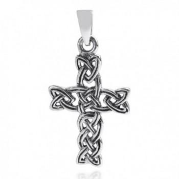 Celtic Triquetra Knot Cross .925 Sterling Silver Pendant - CI11KI30JTX