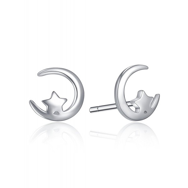 7cf5c1010 Starry Night Sterling Sliver Stud Earrings Tiny Star And Crescent Moon  Earring Studs