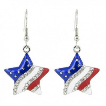 American Flag Patriotic Star Rhinestone Fish Hook Earrings - Clear Crystal with Red White and Blue Enamel - CQ11DT9PFC9