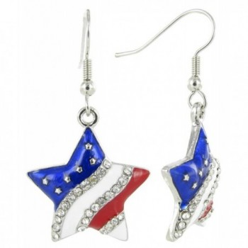 American Flag Patriotic Rhinestone Earrings
