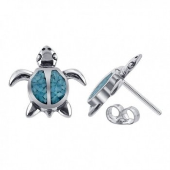 Gem Avenue 925 Sterling Silver Turquoise Inlay Southwestern Style Turtle Post Back Stud Earrings - CC114I1GRF1