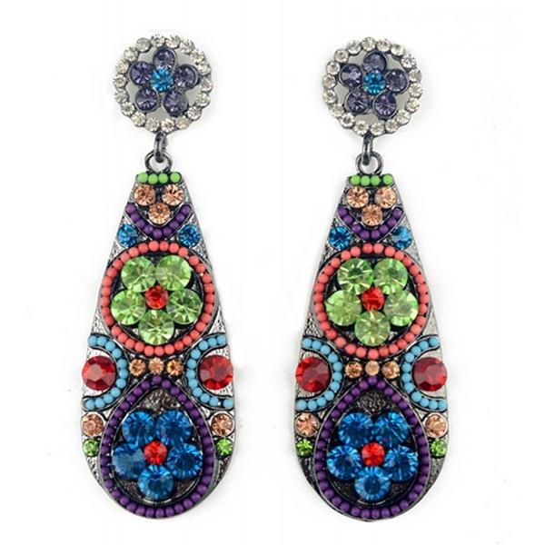 Women's Vintage Jewellery Bohemian Dangle Earrings Teardrop Hoop Earring - CG12E5U8315