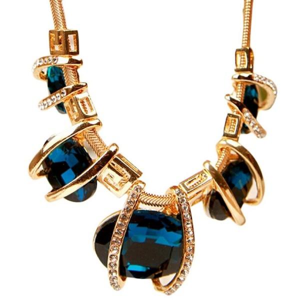 Malloom Fashion Women Crystal Pendant Chain Choker Chunky Statement Bib Blue Necklace - CB12D5719VP