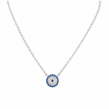 Sterling Silver Cz Small Evil Eye Necklace - CT17YQN246Y