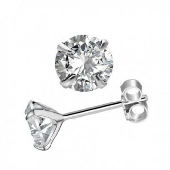CIShop 18K Whitegold Plated Silver Brilliant Cut Simulated Diamond CZ Stud Earrings 3mm-6mm - 3MM - CO18669DL7G
