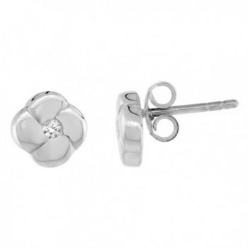 Sterling Silver Tiny Flower Diamond Stud Earrings Flawless Finish - C1116Q3MRJJ