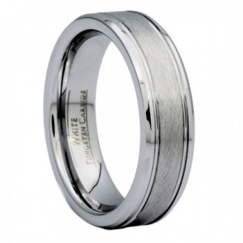 MJ 6mm Center Brushed White Tungsten Carbide Wedding Band - CY127BN96QT