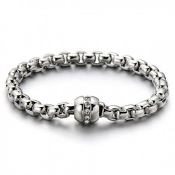 Stainless Steel Ladies Link Chain Bracelet Polished with Cubic Zirconia - 1 - CL12887W0GP