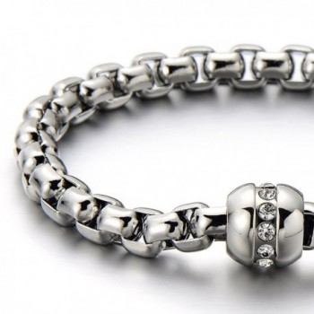 Stainless Ladies Bracelet Polished Zirconia