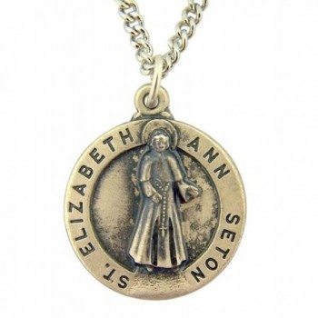 Pewter Catholic Patron Saint Medal Pendant with Prayer Card- 3/4 to 1 1/4 Inch - CF12605F3EN