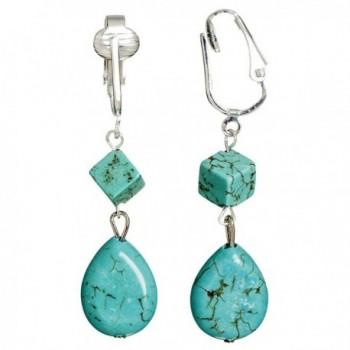 Trendy Turquoise Clip On Earrings for Women- Girls- Teardrop & Cube Clip-on Earrings w Pierced Look- Clip - C1126Q25P4N