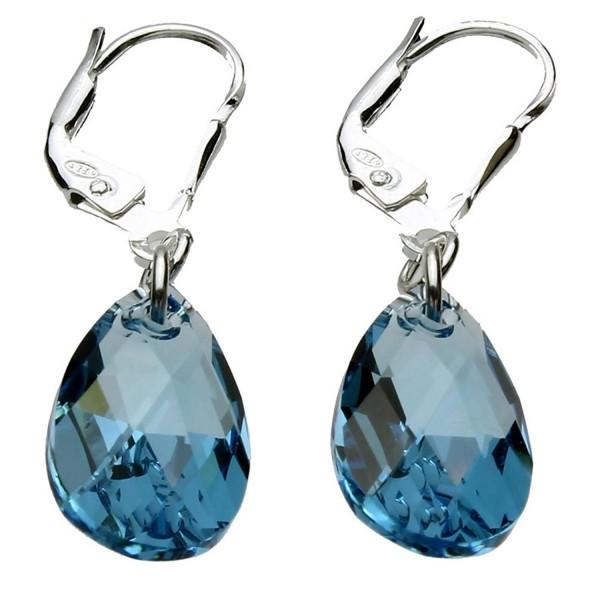 Sterling Silver Leverback Earrings Aqua Blue Pear Teardrop Made with Swarovski Crystals - CE11DDA13I3