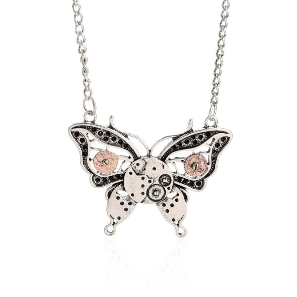 AOLO Antique Silver Butterfly Gear Enbeded Pendant Steampunk Necklace - CC11ZF011CD