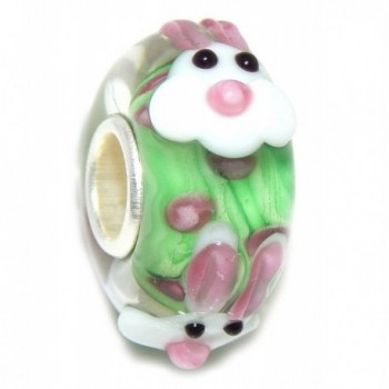 Pro Jewelry 925 Solid Sterling Silver Green Background with Bunny Faces Glass Charm Bead - CN12O28QXNB