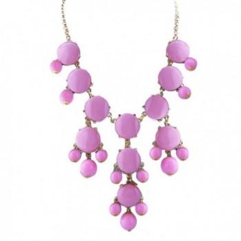 ShinyJewelry Bib Bubble Chunky Collar Choker Statement Necklace Pendant - Pink - CU183N8CTNU