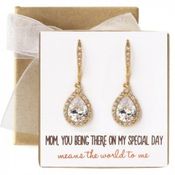 Mother of the bride Gift Drop Earrings or Jewelry set in Silver- Yellow Gold- Rose Gold - C0184S3QKTW
