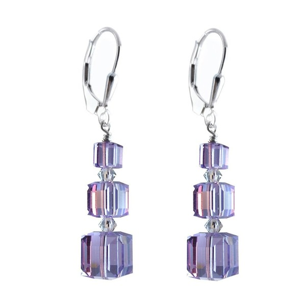 Violet- Lavender Cube Earrings made with Swarovski Crystal Elements Sterling Silver Lever-Back - CK11TBIA2S3