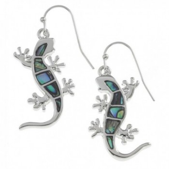 Liavy's Gecko Lizard Fashionable Earrings - Fish Hook - Abalone Paua Shell - Unique Gift and Souvenir - CP1274V8E1L