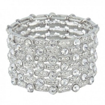 EVER FAITH Women's Austrian Crystal Wedding Art Deco Layers Stretch Bracelet - Silver-Tone - CA11SCF0XKJ
