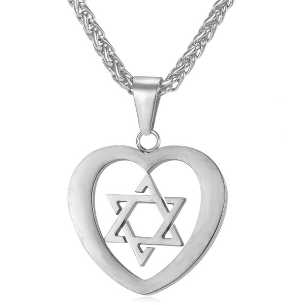 Star of David Heart Pendant Necklace Stainless Steel/18K Gold Plated Jewish Jewelry - CI12JMUMOH7
