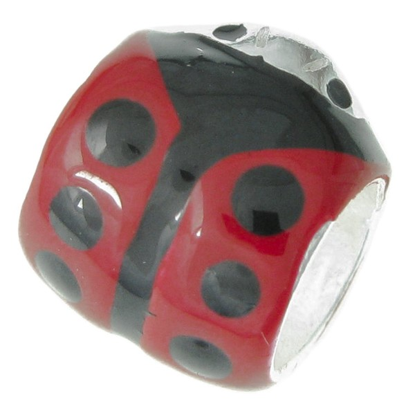 .925 Sterling Silver Ladybug Ladybird Insect Black Red Enamel Tube Bead For European Charm Bracelets - CC11IZW0EZN