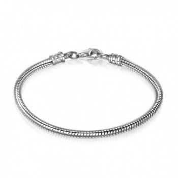 925 Sterling Silver Snake Chain Bracelet for European Bracelets Charms Bead - 6.7 Inches - CP1852YRQ8L