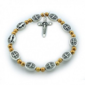 St. Benedict Medal Stretch Bracelet with Gold-Tone Beads - CQ12D0F8J3N