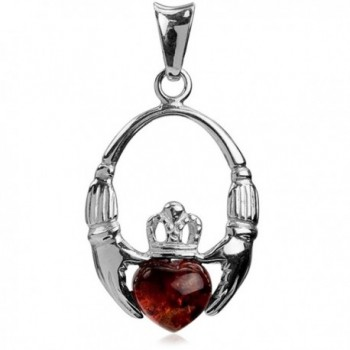 Amber Sterling Silver Claddagh Celtic Irish Heart Pendant - CZ112DDUZVN