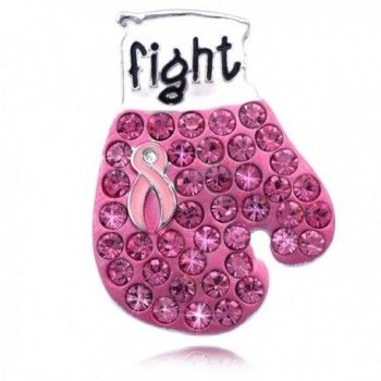 Support Breast Cancer Awareness Pink Ribbon Boxing Glove Brooch Pin - CZ11VVN1321
