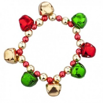 Lux Accessories Goldtone Christmas X-Mas Holiday Jingle Bells Bracelet - C912LO54Y21