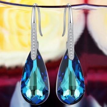 EleQueen Sterling Teardrop Earrings Swarovski
