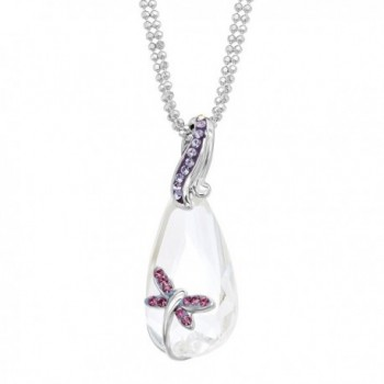 Crystaluxe Dragonfly Pendant Necklace with White & Purple Swarovski Crystals in Sterling Silver - C717YU5HN9A