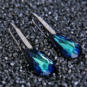 EleQueen Sterling Teardrop Earrings Swarovski in Women's Drop & Dangle Earrings
