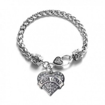 Color Guard 1 Carat Classic Silver Plated Heart Clear Crystal Charm Bracelet Jewelry - CW11VDKYTBT