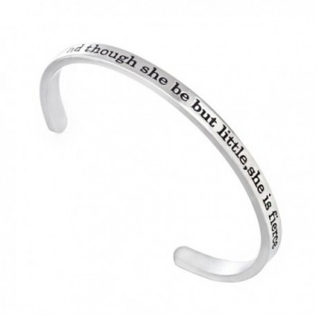 Stainless Steel Cuff Band And though she be but little-she is fierce Inspirational Bangle Bracelet - CF12OCPPQFP