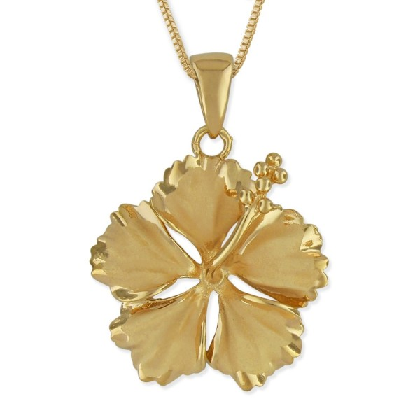 "14kt Yellow Gold Plated Sterling Silver 23mm Hibiscus Pendant Necklace- 16+2"" Extender - CZ115KA2FJP"