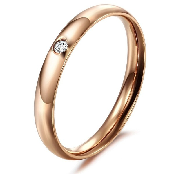 Elove New Fashion Exquisite Crystal(cz) 2-color Titanium Stainless Steel Women's Ring (Rose Gold Color- 9) - CY11EN3WTL5