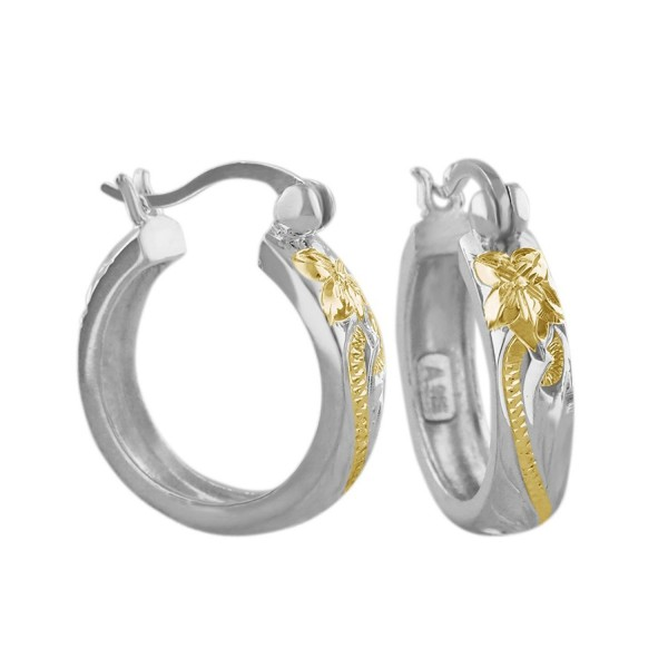 Sterling Silver with 14kt Yellow Gold Plated Accents 11/16 Inch Engraved Hoop Earrings - CR116GOYKPH