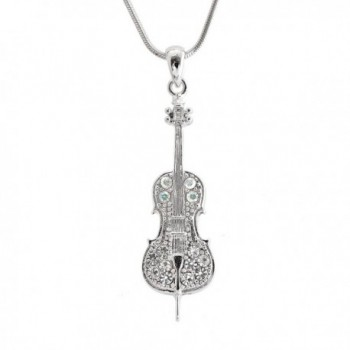 Spinningdaisy Silver plated Crystal Miniature Cello Necklace - CB12G1OBP81