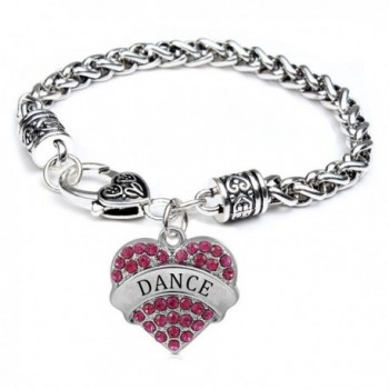 Godyce Heart Charm Bracelet Dance Teacher Success Twirling Basketball Softball - Crystal Inlaid - CC128TYWLAL