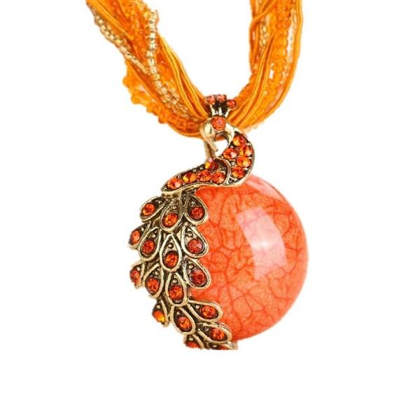 BOLY Vintage Bohemian Phoenix Necklace - Orange - C512N9KI9AS