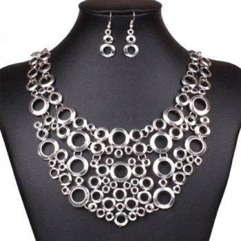 Winson Silver Plated Multi Circle Collar Necklace Calabash Dangle Earring Set - CG11LBQTIQ1