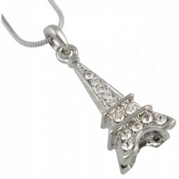 Gorgeous Silver Tone 3-D Crystal Eiffel Tower Paris France Theme Necklace for Girls- Teens- Women- Gift - CL11L0BA8QP