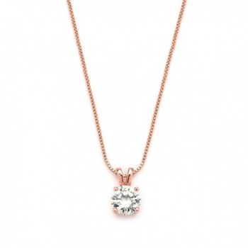 "Mariell Luxurious 14K Rose Gold Plated 2 Carat Round-Cut Cubic Zirconia Necklace Pendant - ""Look of Real"" - CL12MNL89IF"