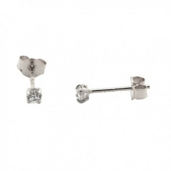 Solid 14k Yellow or White Gold Basket Set Round Cubic Zirconia Stud Earrings - CV12FT82U6V