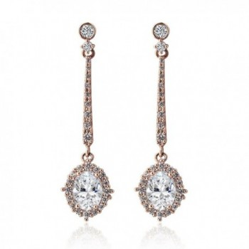 Cubic Zirconia Delicate Long Drop Earrings in Silver- Yellow Gold- Rose Gold - Rose Gold - C4186OT40RY