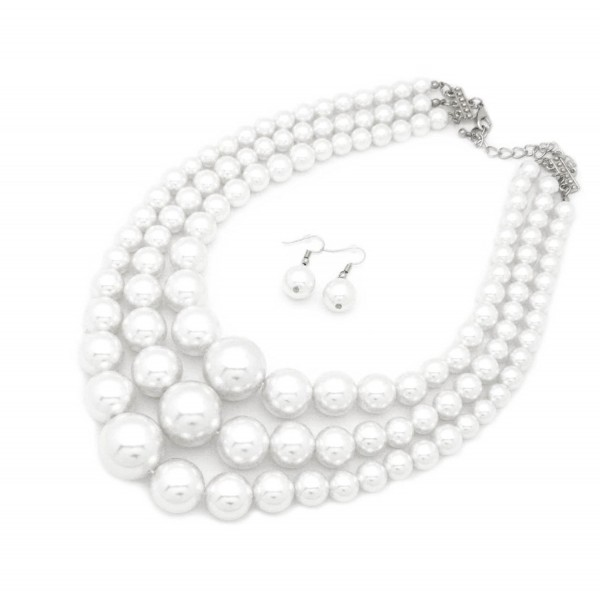 Women's Simulated Faux Three Multi-Strand Pearl Statement Necklace and Earrings Set - White - CK187GHUT27