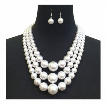 Simulated Multi Strand Statement Necklace Earrings
